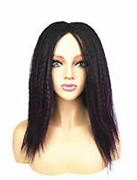 cheap -Ombre kinky Straight Yaki Middle Part Wig Medium Length Dark Wine Black