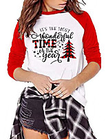 cheap -its the most wonderful time the year t shirt women plaid christmas tree tops letter print long sleeve raglan baseball tee (red, l)