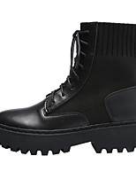 cheap -Women's Boots Block Heel Round Toe Booties Ankle Boots Casual Basic Daily Walking Shoes PU Solid Colored Black / Booties / Ankle Boots / Booties / Ankle Boots