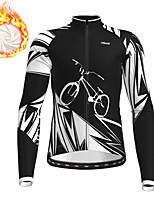 cheap -21Grams Men's Long Sleeve Cycling Jacket Winter Fleece Black Green Bike Jacket Top Mountain Bike MTB Road Bike Cycling Fleece Lining Warm Sports Clothing Apparel / Stretchy