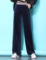 cheap -Women's Basic Breathable Slim Daily Wide Leg Pants Striped Full Length High Waist Black Blue