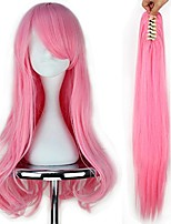 cheap -miss u hair girl long wavy pink cosplay costume full wig claw ponytail set
