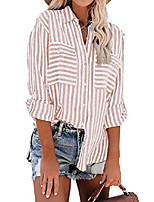 cheap -womens sexy v neck striped roll up sleeve button down collar front pockets shirts blouses orange large