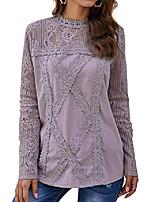 cheap -women cute lace blouse tops short sleeve lace hollow out turtle neck shirt (long sleeve purple, s)