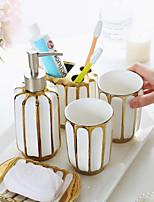 cheap -Bathroom Ensemble 4 Piece Ceramic Complete Bathroom Set for Bath Decor, Includes Toothbrush Holder, Soap Dispenser, Soap Dish, 1 Tumbler Home & Hotel