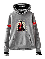 cheap -Inspired by Naruto Cosplay Akatsuki Uchiha Itachi Hoodie Fake Two-Piece Polyester / Cotton Blend Print Printing Hoodie For Men's / Women's