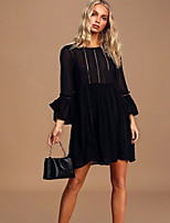 cheap -Women's Sheath Dress Short Mini Dress - Long Sleeve Solid Color Embroidered Spring Fall Casual 2020 Black Yellow S M L XL XXL