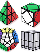 cheap -Speed Cube Set 4 pcs Magic Cube IQ Cube 3*3*3 Speedcubing Bundle 3D Puzzle Cube Stress Reliever Puzzle Cube Stickerless Smooth Office Desk Toys Pyramid Mirror Megaminx Kid's Adults Toy Gift
