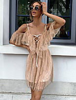 cheap -A-Line Vintage Boho Party Wear Cocktail Party Dress Off Shoulder Short Sleeve Short / Mini Chiffon with Ruffles 2020