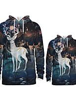 cheap -Daddy and Me Active Santa Claus Graphic 3D Print Animal Print Long Sleeve Regular Hoodie & Sweatshirt Navy Blue