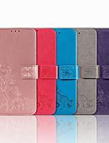 cheap -Case For OPPO OPPO A59 / OPPO A57 / OPPO A53 Card Holder / Shockproof / Flip Full Body Cases Flower PU Leather