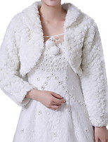 cheap -Long Sleeve Shawls Faux Fur Wedding Women's Wrap With Lace-up