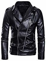 cheap -men's faux leather jacket motorcycle lapel bomber punk irregular zipper jacket black