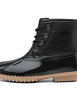 cheap -Women's Boots Duck Boots Wedge Heel Round Toe Booties Ankle Boots Casual Daily Walking Shoes Nubuck Lace-up Solid Colored Light Brown Dark Brown Black / Mid-Calf Boots