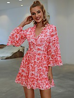 cheap -Women's A-Line Dress Short Mini Dress - Long Sleeve Floral Ruffle Ruched Print Fall Casual Flare Cuff Sleeve 2020 Blushing Pink S M L