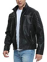 cheap -leather jackets for men, faux motorcycle vintage black biker stand collar outwear punk zip-up coat l