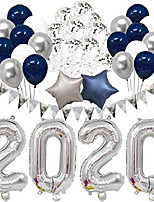 cheap -graduation 2020 new years eve party supplies 2020 decorations kit 32 inches large 2020 balloon navy blue silver and white balloons sets for party supplies decor