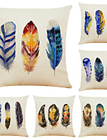 cheap -Set of 6 Artistic Feather Linen Square Decorative Throw Pillow Cases Sofa Cushion Covers 18x18
