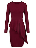 cheap -Women's Sheath Dress Short Mini Dress - Long Sleeve Solid Color Ruffle Patchwork Spring Fall Work Elegant 2020 Black Wine S M L XL XXL
