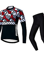 cheap -21Grams Women's Long Sleeve Cycling Jersey with Tights Winter Fleece Black Skull Bike Fleece Lining Warm Sports Graphic Mountain Bike MTB Road Bike Cycling Clothing Apparel / Stretchy / Athletic