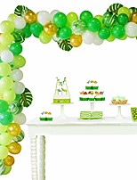 cheap -balloon arch garland kit - 108 pieces, jungle theme party supplies balloons set with 100 latex balloons, 6 palm leaves, 1 roll balloon strip tape and 1 roll dot glue for kid birthday baby shower