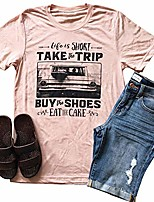 cheap -women life is short take the trip letter print t-shirt short sleeve funny graphic tees tops (pink, xxl)