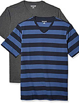 cheap -men's 2-pack slim-fit short-sleeve v-neck t-shirt, blue and navy rugby stripe/charcoal heather, large