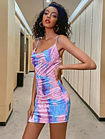 cheap -Women's Sheath Dress Short Mini Dress - Sleeveless Tie Dye Backless Patchwork Summer Fall Casual Sexy 2020 Blushing Pink S M L