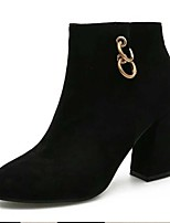 cheap -Women's Boots Block Heel Boots Chunky Heel Pointed Toe Booties Ankle Boots Casual Daily Walking Shoes PU Solid Colored Black / Gold Black / Booties / Ankle Boots / Booties / Ankle Boots