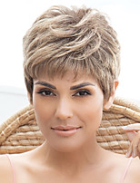 cheap -Synthetic Wig Straight Layered Haircut With Bangs Wig Short Light Brown Grey Synthetic Hair Women's Fashionable Design Exquisite Comfy Brown Gray