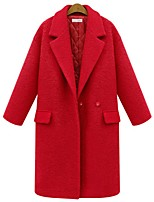 cheap -Women's Fall & Winter Open Front Coat Long Solid Colored Daily Streetwear Black Red S M L XL / Going out / Slim