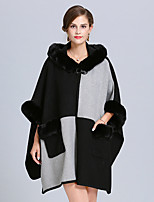 cheap -Women's Fall & Winter Shawl Lapel Cloak / Capes Long Color Block Daily Basic Black Blushing Pink Wine Camel One-Size