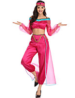 cheap -Princess Jasmine Cosplay Costume Costume Women's Movie Cosplay Euramerican Fuchsia Top Pants Headwear Christmas Halloween Carnival Polyester / Cotton