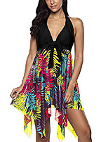 cheap -modest swimsuits halter tankini dress mesh printed two piece bathing suits swimwear