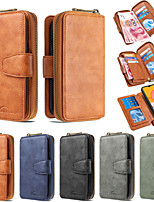 cheap -Case For Samsung Galaxy S9 / Galaxy S10 / Galaxy S10 Plus Wallet / Card Holder / Shockproof Full Body Cases Solid Colored Genuine Leather