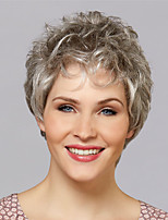 cheap -Synthetic Wig Curly Asymmetrical Wig Short Silver grey Blonde Grey Synthetic Hair Women's Fashionable Design Classic Exquisite Silver Blonde
