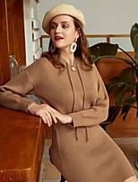 cheap -Women's Sheath Dress Short Mini Dress - Long Sleeve Solid Color Summer Fall Casual Elegant Lantern Sleeve 2020 Khaki S M L