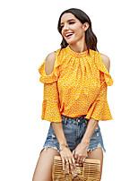 cheap -Women's Blouse Shirt Polka Dot Long Sleeve Patchwork Print Standing Collar Tops Slim Basic Basic Top Yellow