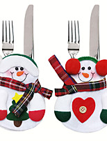 cheap -2Pcs Christmas Knife and Fork Bag Decorations Table For Home Hotel Party Gift Xmas Ornament Snowman Kitchen Tableware Holder Bag