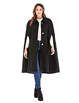 cheap -Women's Winter Single Breasted Cloak / Capes Long Solid Colored Daily Basic Black S M L XL / Slim