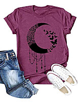 cheap -women butterfly moon shirt graphic tee short sleeve funny summer casual letter print crewneck tops purple