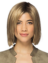 cheap -Synthetic Wig kinky Straight Asymmetrical Wig Short Brown Silver Synthetic Hair 6 inch Women's Fashionable Design Exquisite Fluffy Silver Brown