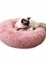 "cheap -round dog cat bed donut cuddler, faux fur plush pet cushion for large medium small dogs, self-warming and cozy for improved sleep pink, x-large(30""x30"")"