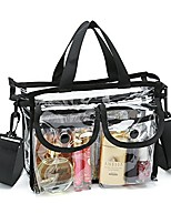 cheap -clear cosmetic bag with removable and adjustable shoulder strap (black)