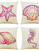 cheap -Set of 4 Pink Marine Life Linen Square Decorative Throw Pillow Cases Sofa Cushion Covers 18x18