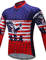 cheap -21Grams Men's Long Sleeve Cycling Jacket Winter Fleece Red National Flag Bike Jacket Mountain Bike MTB Road Bike Cycling Fleece Lining Breathable Warm Sports Clothing Apparel / Stretchy