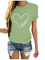 cheap -women t shirts short sleeve, odgear valentine's day graphic tees printed shirts blouse tops d-green