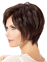 cheap -Synthetic Wig Straight Asymmetrical Wig Short Dark Brown Synthetic Hair Women's Fashionable Design Exquisite Dark Brown
