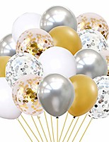 cheap -party balloons 60pcs white silver gold balloons with confetti balloons birthday latex balloons helium balloons