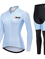 cheap -21Grams Women's Long Sleeve Cycling Jersey with Tights Winter Fleece White Bike Fleece Lining Warm Sports Mountain Bike MTB Road Bike Cycling Clothing Apparel / Stretchy / Athletic